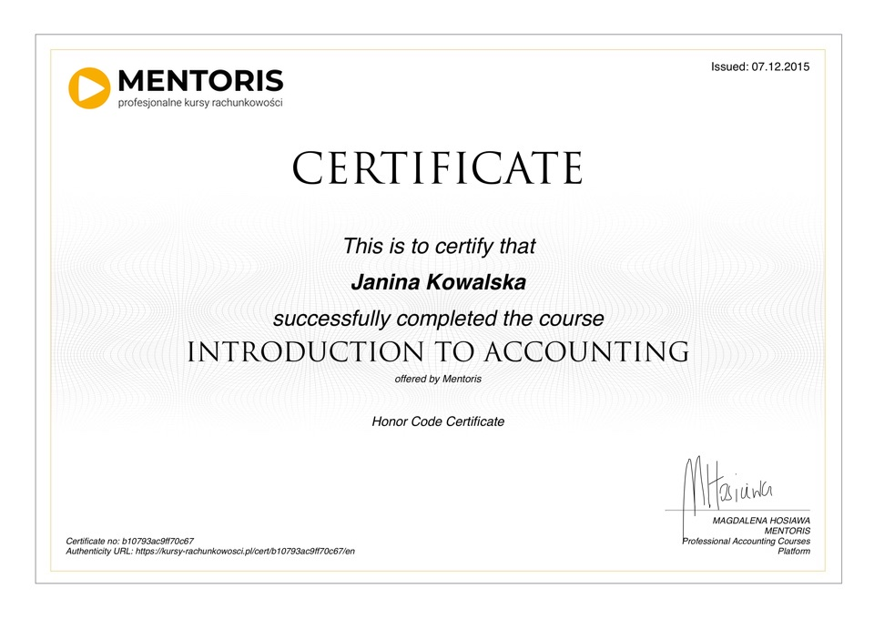 Course accounting basics