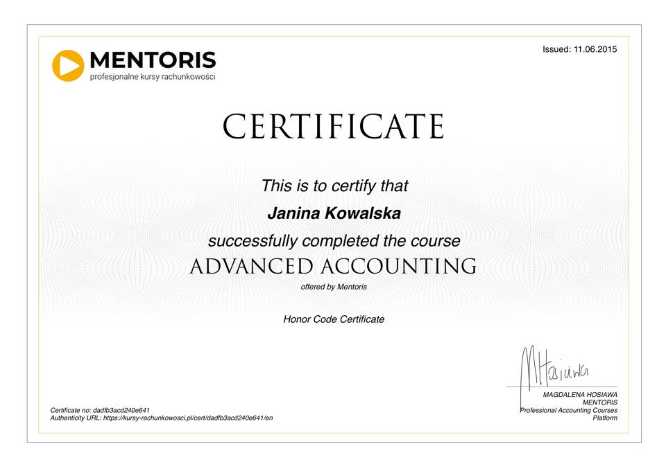 Course advanced accounting